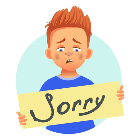 I am sorry message on white background. Sad boy holding poster with word Sorry. Conceptual handwritten message.