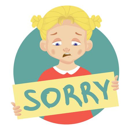 Je suis désolé message sur fond blanc. Fille triste tenant affiche avec mot Désolé. Message manuscrit conceptuel.