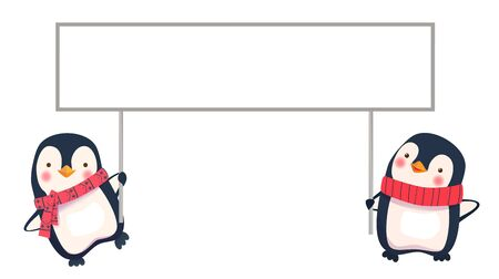 two penguins holding banner 写真素材