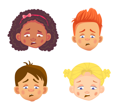 emotions of a childs face Stock Illustratie