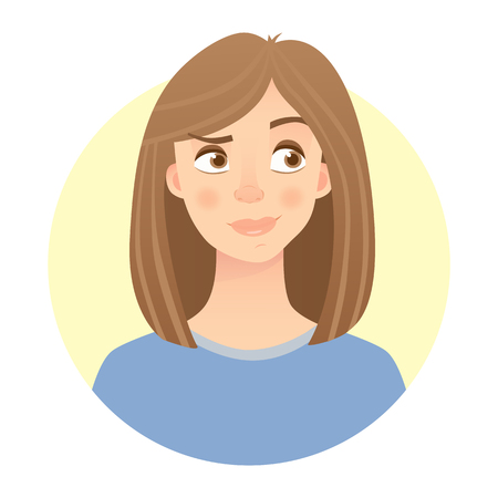 An emotions of woman's face isolated on light background Illustration