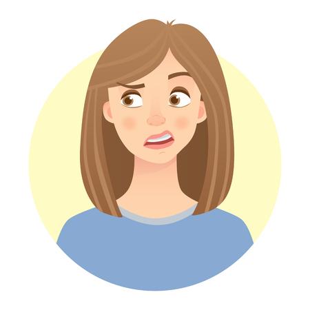 Emoción de cara de disgusto de una mujer