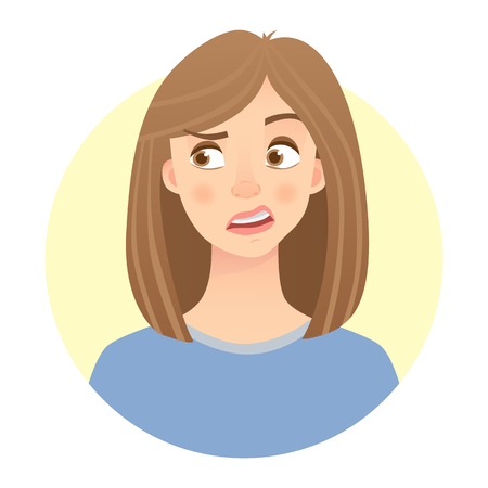 Disgusted face emotion of a woman Illustration