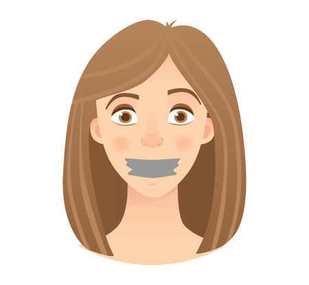 Portrait of young woman with mouth and lips sealed in adhesive tape. Young woman with taped mouth vector illustration Banque d'images - 100991516