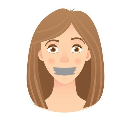 Retrato de mujer joven con boca y labios sellados con cinta adhesiva. Mujer joven con la ilustración de vector de boca con cinta