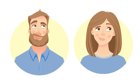 Male and female face Illustration