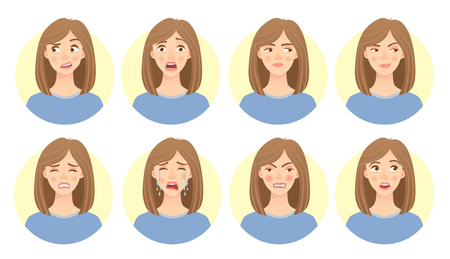 Emotions of woman's face set
