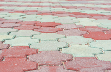 red and green paving stones