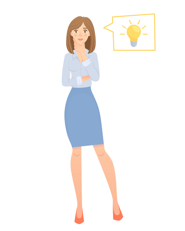 Business woman with lamp. Energy and idea symbol vector illustration