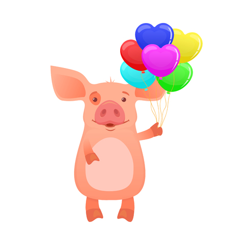 Cute pig holding balloons