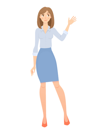Business woman isolated. Elegant businesswoman in formal clothes illustration