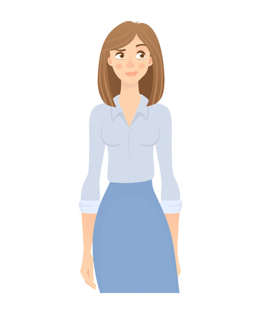 Business woman isolated. Business pose and gesture. Young businesswoman illustration Imagens