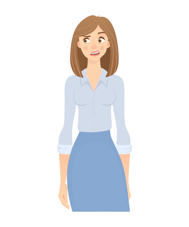 Business woman isolated. Business pose and gesture. Young businesswoman illustration Stock Illustration - 102877763