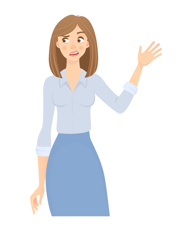 Business woman isolated. Business pose and gesture. Young businesswoman illustration. Hand up Imagens