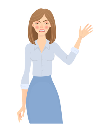 Business woman isolated. Business pose and gesture. Young businesswoman illustration. Hand up 스톡 콘텐츠