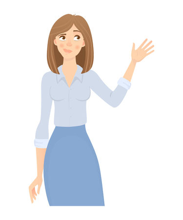 Business woman isolated. Business pose and gesture. Young businesswoman illustration. Hand up Stock Photo
