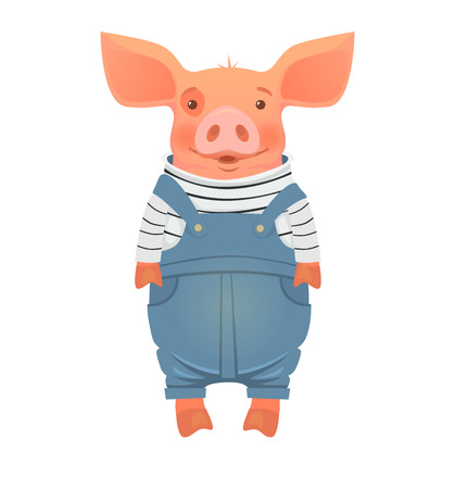 Cute pig cartoon. Pig in overalls vector illustration
