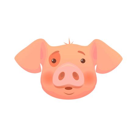 Dessin animé mignon de porc. Tête de cochon isolée. Vecteurs