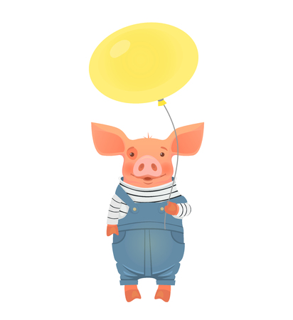 Cute pig holding balloon.