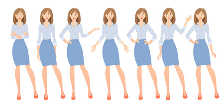Business woman set. Set of female gestures and postures illustration. Banco de Imagens