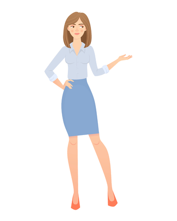 Business woman isolated. Beautiful woman in business clothes. illustration