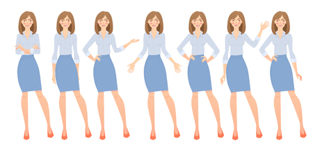 Business woman set. Set of female gestures and postures illustration. 版權商用圖片