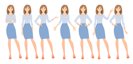 Business woman set. Set of female gestures and postures illustration. Imagens