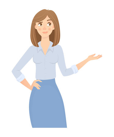 Business woman isolated. Business pose and gesture. Young businesswoman illustration. Point hand Stock Photo