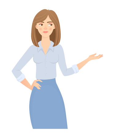 Business woman isolated. Business pose and gesture. Young businesswoman illustration. Point hand 写真素材