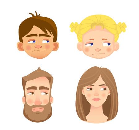 Émotions du visage humain. Ensemble de visages humains exprimant des émotions.