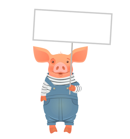 Cute pig holding sign. Cartoon pig holding blank banner. Çizim