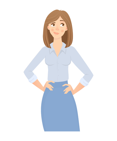 Business woman isolated. Business pose and gesture. Illustration