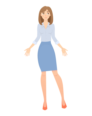 Business pose and gesture. Young business woman illustration Banco de Imagens