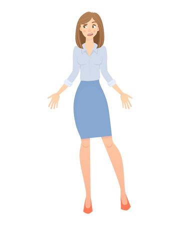 Business pose and gesture. Young business woman illustration Imagens