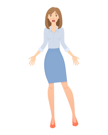 Business pose and gesture. Young business woman illustration Stock Photo