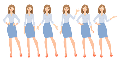 Business woman set. Set of female gestures and postures illustration. Banco de Imagens