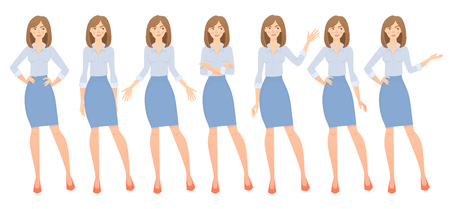 Business woman set. Set of female gestures and postures illustration. Stock Photo