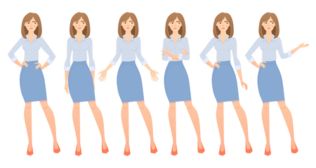 Business woman set. Set of female gestures and postures illustration. 写真素材