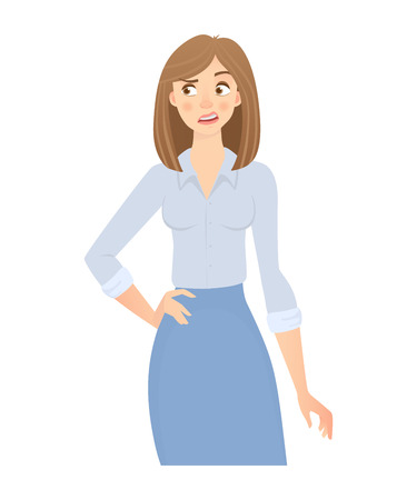 Business woman isolated. Business pose and gesture. Young businesswoman illustration Banco de Imagens
