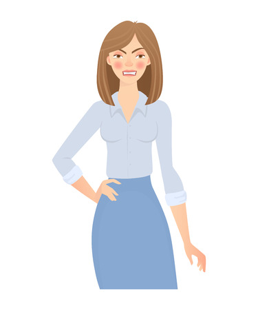 Business woman isolated. Business pose and gesture. Young businesswoman illustration 스톡 콘텐츠
