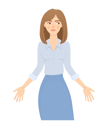 Business woman isolated. Business pose and gesture. Young businesswoman illustration. Hands in the side 写真素材