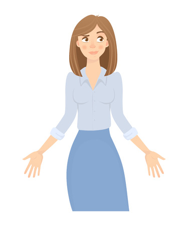 Business woman isolated. Business pose and gesture. Young businesswoman illustration. Hands in the side Stock Photo