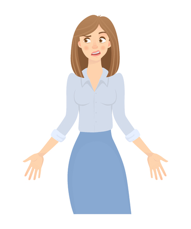 Business woman isolated. Business pose and gesture. Young businesswoman illustration. Hands in the side Banco de Imagens