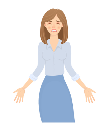Business woman isolated. Business pose and gesture. Young businesswoman illustration. Hands in the side Фото со стока