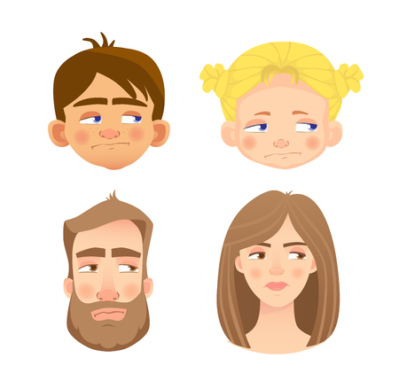 Emotions of human face. Set of human faces expressing emotions. Illustration