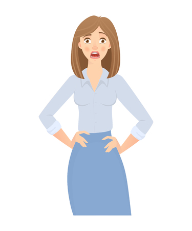 Business woman isolated. Business pose and gesture. Young businesswoman illustration Stock Photo