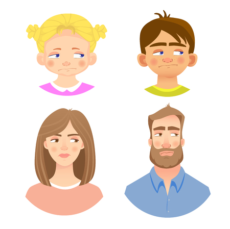 Emotions of human face. Set of avatars with different emotions. Vector illustration