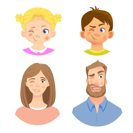 Emotions of human face. Set of avatars with different emotions. Illustration