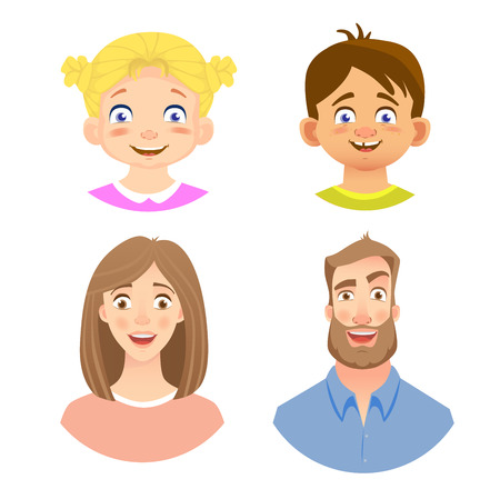 Emotions of human face. Set of avatars with different emotions. Vector illustration Vectores