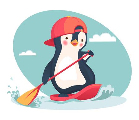 Penguin floating on SUP board. Paddle board. Penguin vector illustration